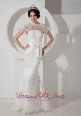 Mermaid High Neck Sash Brush Wedding Dresses