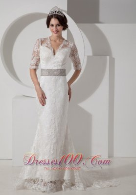 Lace V Neck Brush Wedding Dress Colored Sash