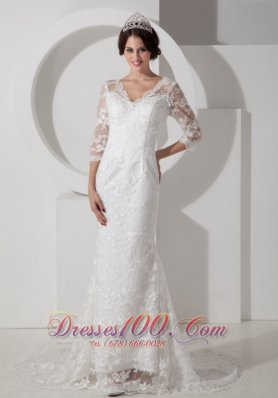 V Neck Mermaid Brush Lace Sleeves Wedding Dress