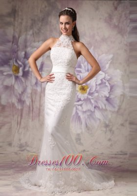 High Neck Lace Mermaid Beaded Wedding Dress