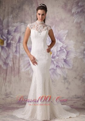 Lace High Neck Mermaid Court Wedding Dress Beaded
