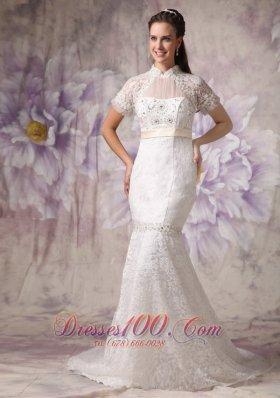 Mermaid High Neck Lace Beading Wedding Dresses