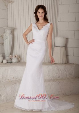 V Neck Court Train Lace Mermaid Wedding Gowns