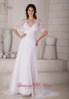 Sheath Lace V Neck Court Train Bridal Dress