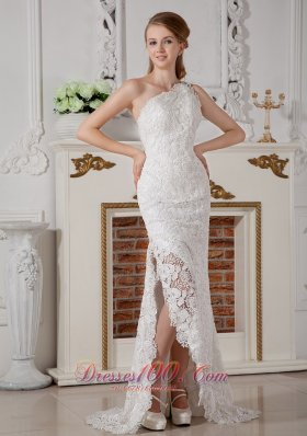 Lace One Shoulder Wedding Dress Brush Train