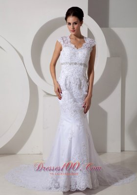 Mermaid Court Train Lace Beads Wedding Dress