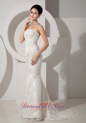 Strapless Mermaid Lace Beaded Court Wedding Dress