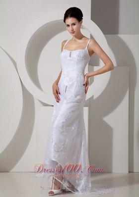 Beading Brush Lace Beach Wedding Dress With Straps