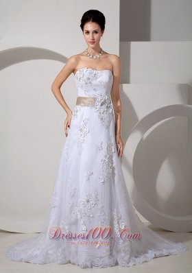Colored Belt Lace Court Train Wedding Dress