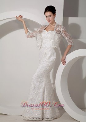 Sweetheart Mermaid Lace Jacket Wedding Dress Sash