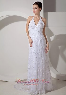 Beaded Halter Ruch Lace Court Wedding Dress