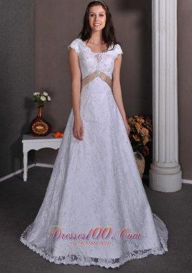 Lace V Neck Beading Court Wedding Dress Bridal