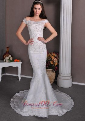 Lace Off The Shoulder Mermaid Wedding Dress