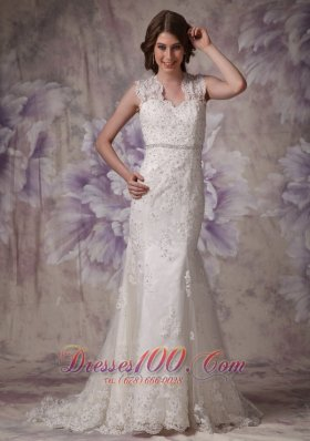 Mermaid Lace Court Beaded Wedding Dress With Straps
