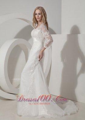 Organza V Neck Lace Sleeves Chapel Train Wedding Dress