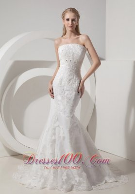 Mermaid Chapel Train Strapless Beaded Wedding Dresses