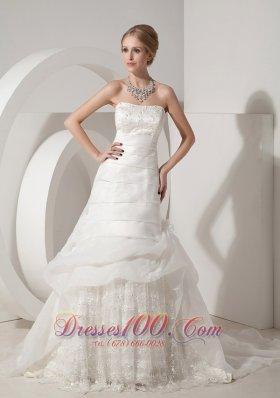 Appliques Chapel Train Organza Bridal Wedding Dress