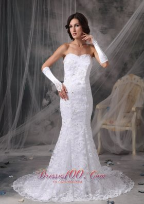 Mermaid Lace Beaded Sweetheart Court Wedding Dress