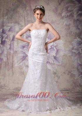 Appliques Mermaid Court Wedding Dress Strapless