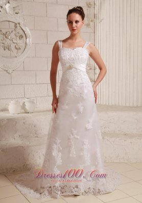 Lace Beaded Beach Wedding Dress With Straps