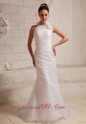 Halter Hand Made Flower Lace Wedding Gowns