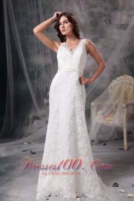 V Neck Lace Wedding Dress Brush Train Sashed
