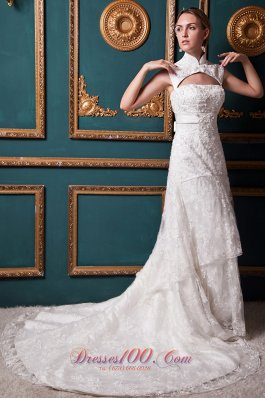 Lace High Low Chapel Train Sash Wedding Dress