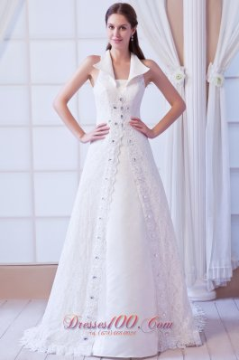 Square Lace Beading Wedding Dress Court Train