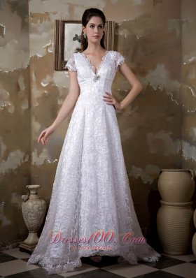 Princess Wedding Dress With V Neck Brush Train