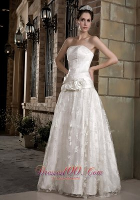 Hand Made Flowers Lace Bridal Gown Wedding Dress