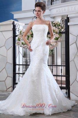 Lace Mermaid Belt Court Wedding Bridal Dress