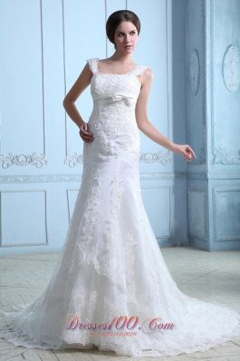 Square Court Train Mermaid Wedding Dress Satin