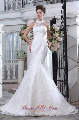 Halter Mermaid Wedding Dress Lace Court Train