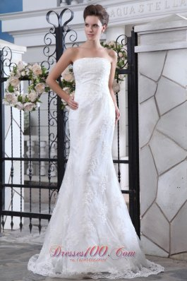 Mermaid Satin Brush Train Lace Wedding Dress