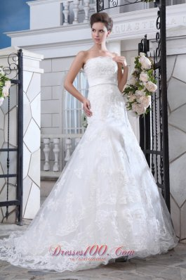 Lace Mermaid Belt Court Train Wedding Dress