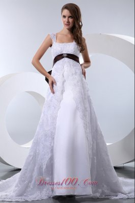 Colored Bow Beaded Chapel Train Straps Wedding Gowns