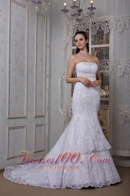 Mermaid Strapless Court Lace Wedding Dress Taffeta