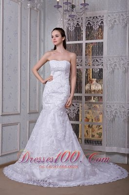 Strapless Mermaid Wedding Dress Lace Court Train