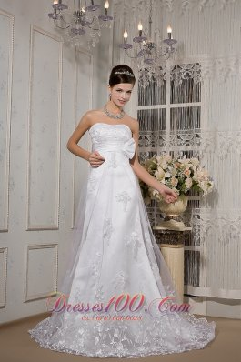 Ruched Lace Sash Wedding Dress Court Train