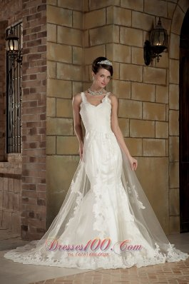 Tulle Mermaid Chapel Wedding Dress With Straps