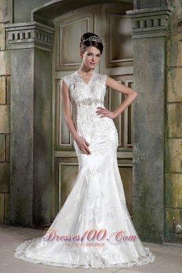 Lace V Neck Mermaid Beaded Court Bridal Dress