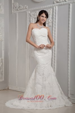 Mermaid Lace Sweetheart Brush Wedding Dress