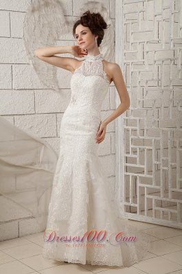 Lace High Neck Mermaid Brush Wedding Dress Appliques