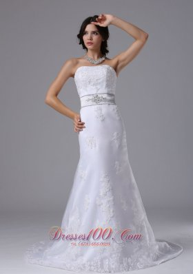 Beaded Lace Wedding Bridal Dress Colored Sash