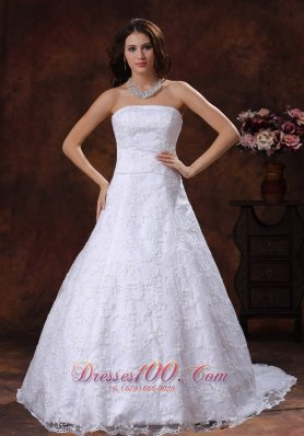 Strapless Brush Lace Wedding Dress Bridal Gowns