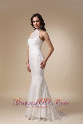 High Neck Mermaid Lace Brush Wedding Gowns