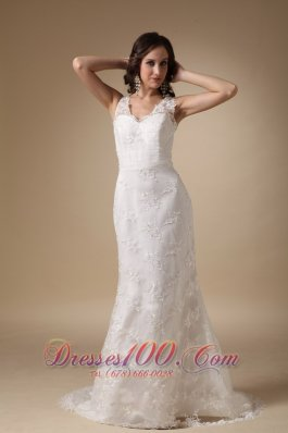 Column V Neck Lace Brush Taffeta Wedding Dress