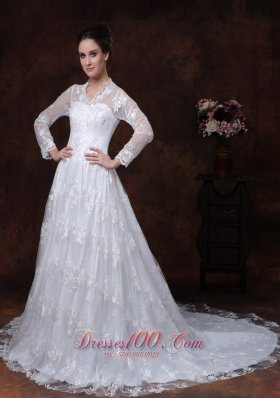 Princess V Neck Long Sleeves Court Bridal Dress