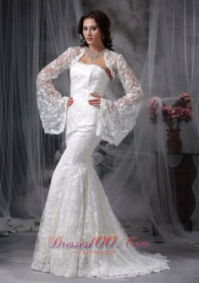 Lace Mermaid Long Sleeves Court Wedding Dress