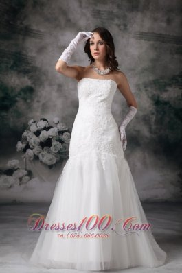 Mermaid Brush Lace Wedding Dress Strapless Tulle